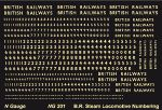 Modelmaster Decals MMNG201- N/2mm Scale Loco General Purpose Steam Loco Numbering